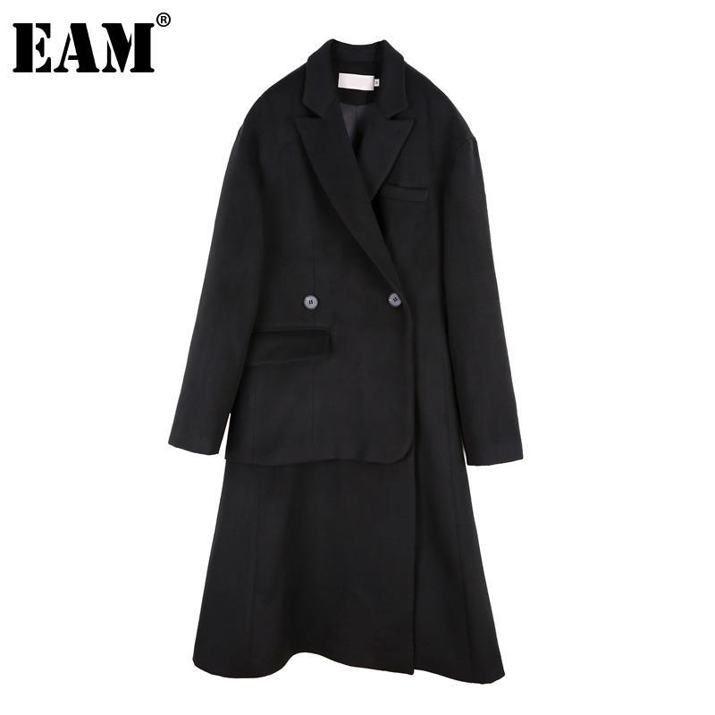 [EAM] Suelto Fit Negro Irregular Gran tamaño Largo Woolen Coat Parkas Nuevo manga larga Mujer Moda Marea Otoño Invierno 2020 1DA470 Y1112
