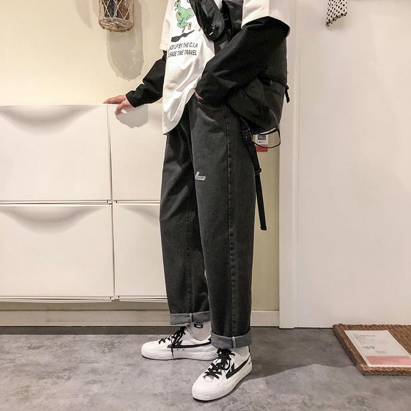 2020 Torn Harajuku -man Jeans Harem Black Korean Fashions Pants Denies Male Hip Hop Baggy Blue Denim