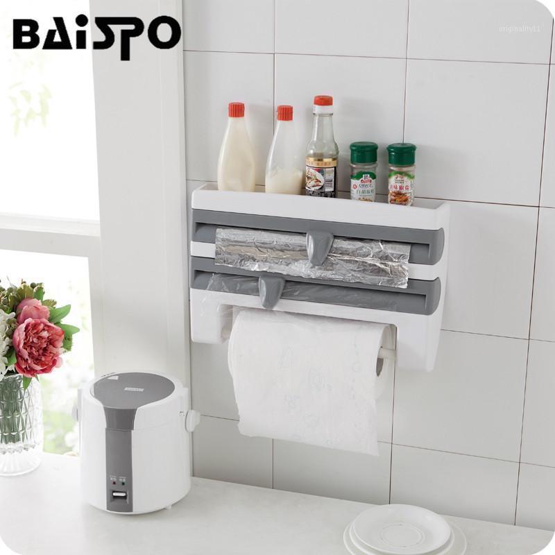 Baispo 새로운 다기능 벽 마운트 부엌 Cling 필름 소스 병 저장 랙 종이 수건 홀더 설계된 커터 1