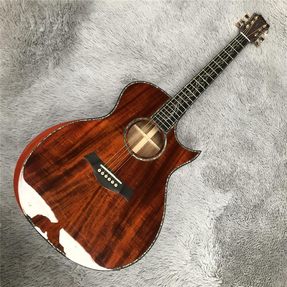Großhandel benutzerdefinierte chaylor SP14 voll Kakao Akustikgitarre, Intarsien Abalone echtes Ebenholz Griffbrett, reine Kakaoakustikgitarre, freies Verschiffen