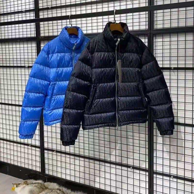العلامة التجارية الرجال أسفل سترة إلكتروني يزين مصمم الذكور الشتاء الدافئة مزدوجة سستة أبلى أزياء السادة الوقوف طوق أسفل معطف