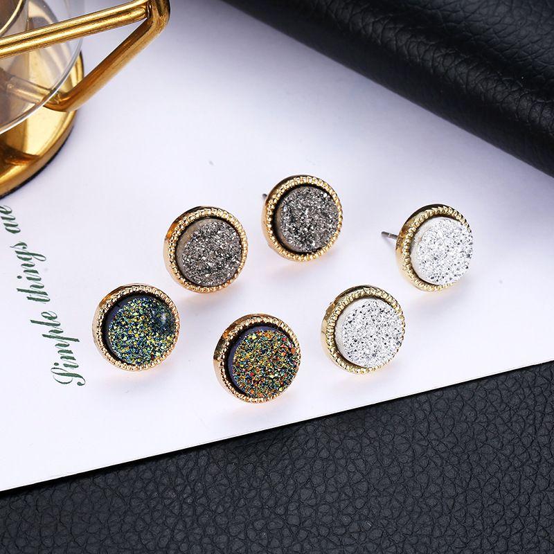 뜨거운 9 가지 색상 간단한 Druzy 돌 스터드 귀걸이 숙녀 라운드 수지 골드 귀걸이 여성 패션 쥬얼리 대량