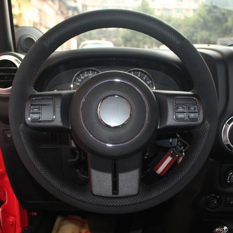 DIY Auto Lenkradbezug Volant Suede Für Jeep Grand Cherokee 2011 2012 2013 Compass Patriot Wrangler 2011-2015 2016 2017