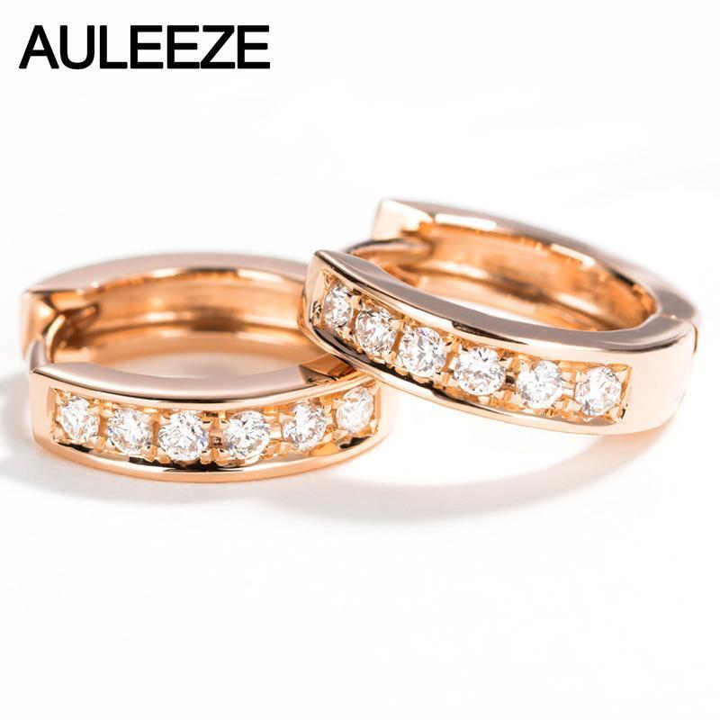 AUTEIENE Genuino Natural Real Diamond G / SI Pendientes de boda Classic 18K Sólido Rosa Oro Hoop Pendientes para las Mujeres Joyería Fina