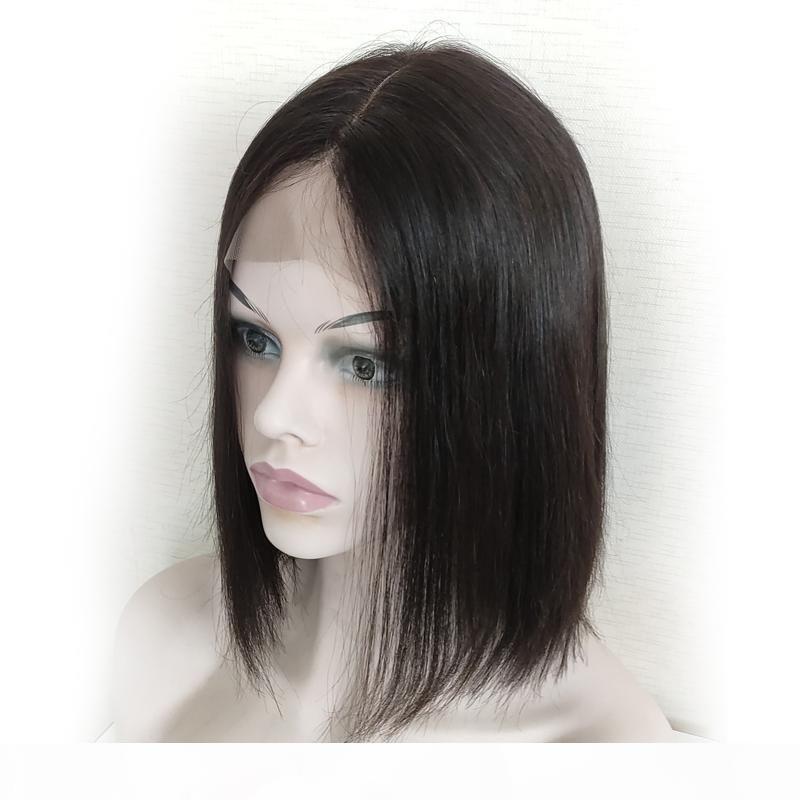 2 * 6 шнурок фронта Боб парики бразильского Glueless Pre щипковых Straight фронт шнурок человеческих волосы для женщин # 1B