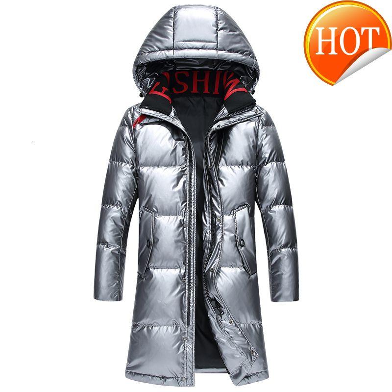 Qualidade Homens Alto Inverno Duck Duck Parka Grosso Quente Com Capuz Outwear Preto Casaco Longo Homens Down Jacket