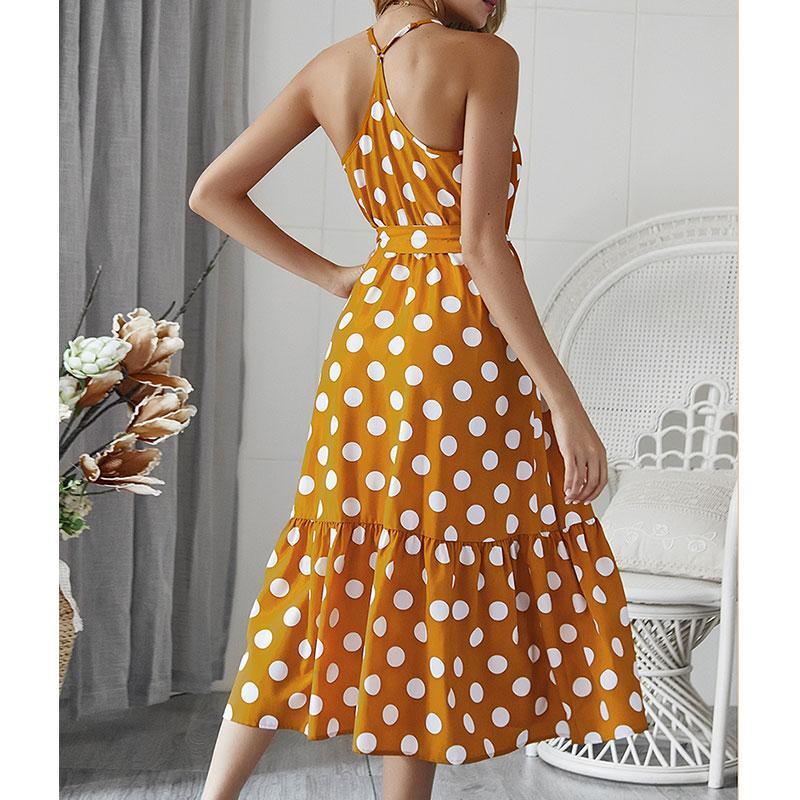 Casual Giallo allentate delle donne del vestito con scollo a V Pois Sling Vestito lungo Beach stile di vacanza donna vestidos Moda Streetwear
