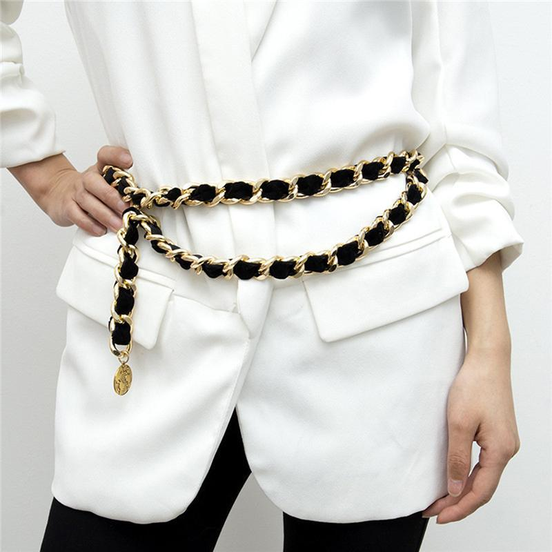 Cinturón de cadena de metal de aleación de flecos femeninos para mujer Tassel Flannel Gold Belt Damas exageradas Vintage Flocking Cadena de cintura