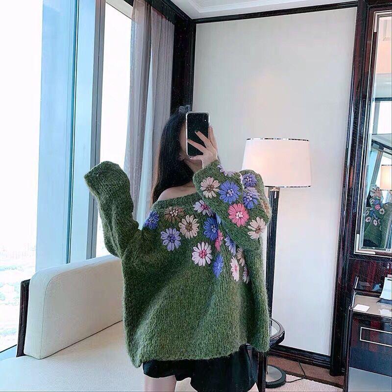20201010 tricot industrie lourde pull à double couche en trois dimensions crochet broderie fleur pull-over