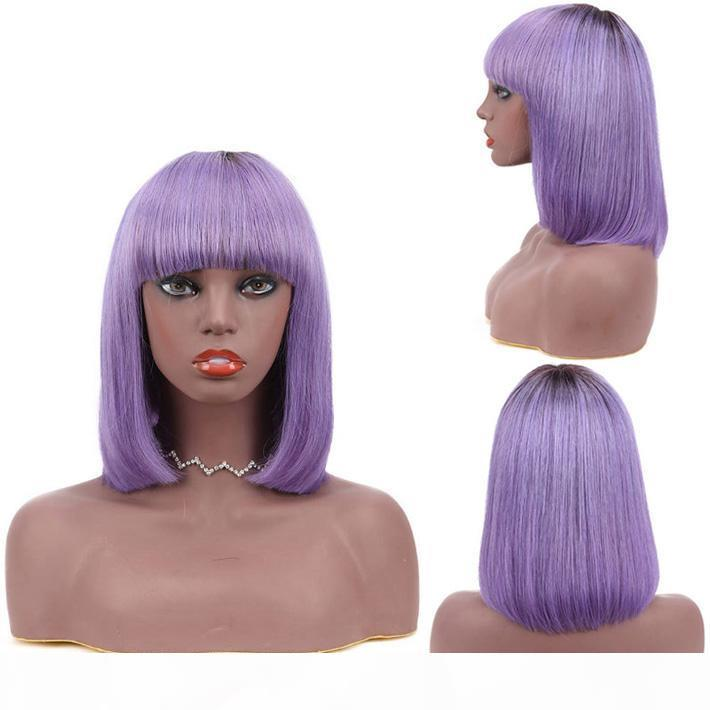 Púrpura Ombre Short BOB BOB Pelucas de cabello humano con flequillo para mujeres negras 150% densidad peruana recta sin glanas peluca pixie corte púrpura peluca de color púrpura