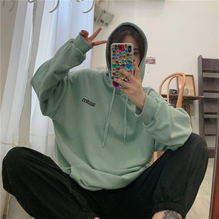 LxwkI Frauen Frühling und Herbst koreanischen Stil Volltonfarbe Pullover Student neuen losen ins Top SweaterCoat sweaterhooded 2020 Mantelfrauen oben Hq