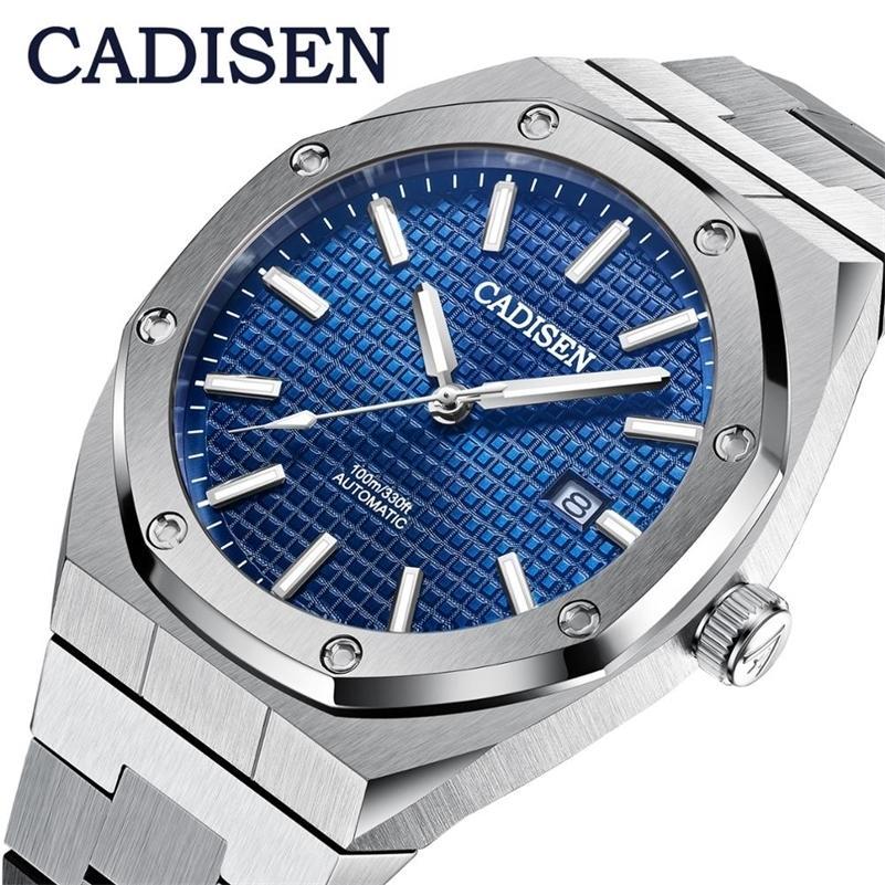 CADISEN DESIGN MARQUE MENUES DE LUXE MONTRES MÉCANIQUES Automatique Automatique Montre Bleu Hommes 100m Imperméable Casual Business Bracelet Lj201212