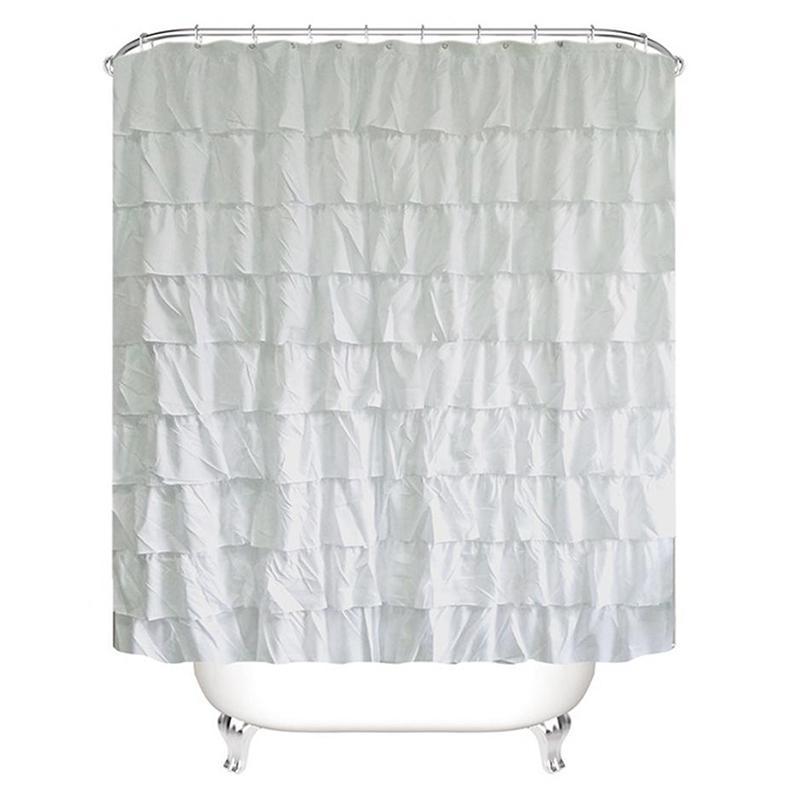 Couleur unie bord ondulé imperméable rideau de douche salle de bains volantée Rideau Décoration X1018