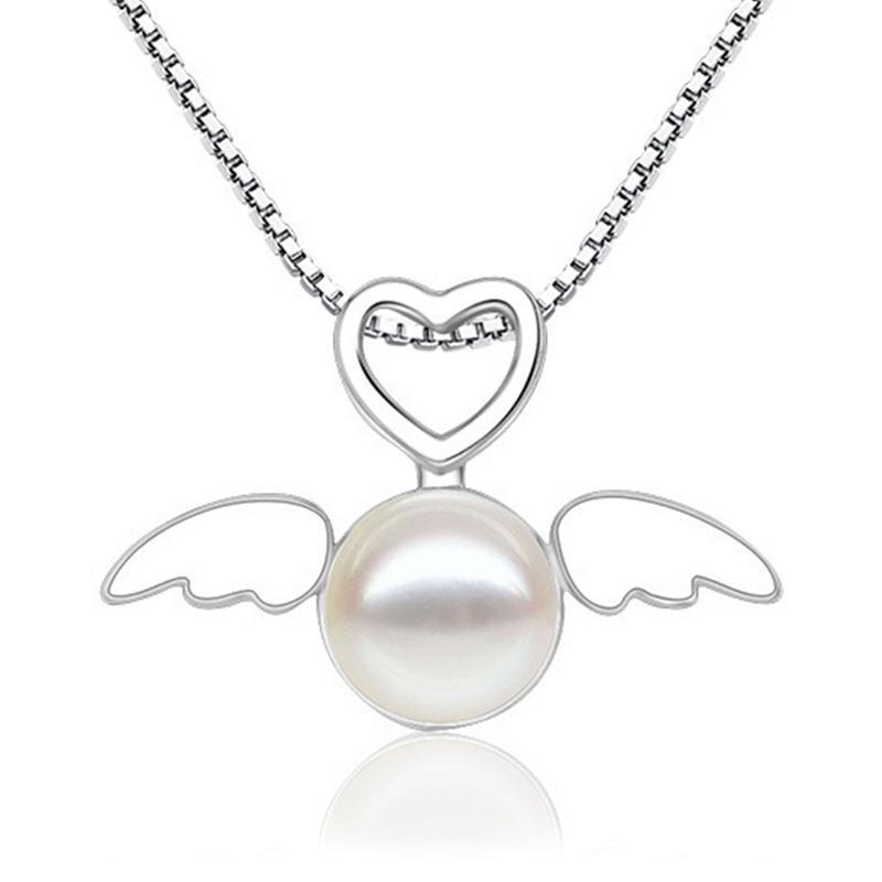Bom presente cadeia de cobre colar de pérolas do coração do anjo do amor pingente jóias acessórios femininos