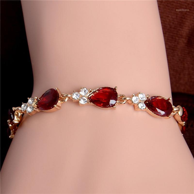 Shuangr luxus kristall armbänder für frauen damen kette armband glänzend kubisch zirkon wasser tropfen armband schmuck