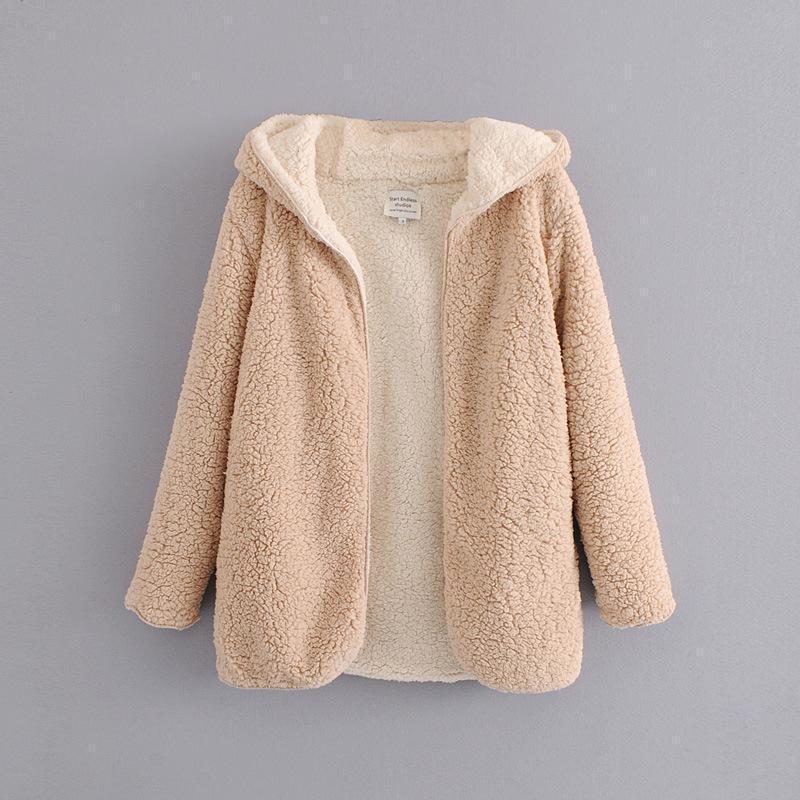 Yeni Kadın Faux Yün Astar Ceket Moda Bahar Sonbahar Meidum Uzun Mont Kadın Kapüşonlu İki Taraflı Aşınma Sıcak Giyim 201103