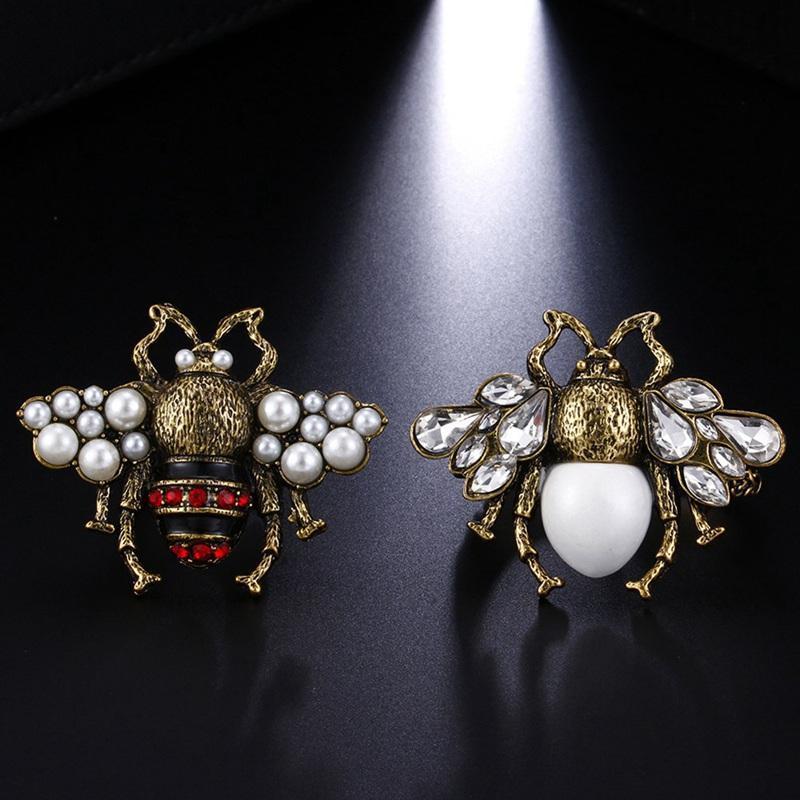 Schmuck Jahrgang Bee simulierte Perlen Bee-Ring für Frauen justierbare geöffnete Ring Dropshipping