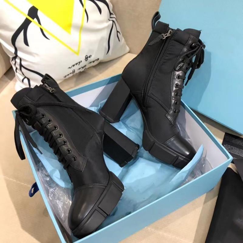 2020 Tasarımcı Plak Çizme Lace Up Ayak bileği Boot 9.5cm Kadınlar Siyah Deri Combat Boots Yüksek topuk Kış Önyükleme ile Kutusu