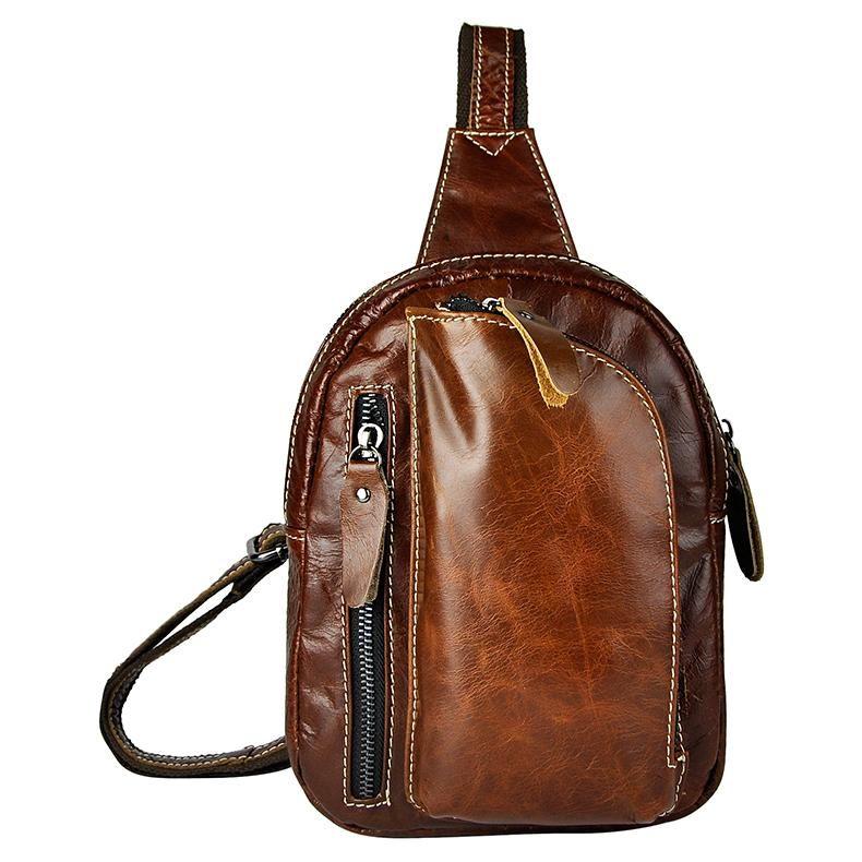 Top Calidad Hombres Genuino Cuero Real Cuero Vintage Paquete de Pecho Bolsa Sling Crossbody Bolsa Daypack 6099