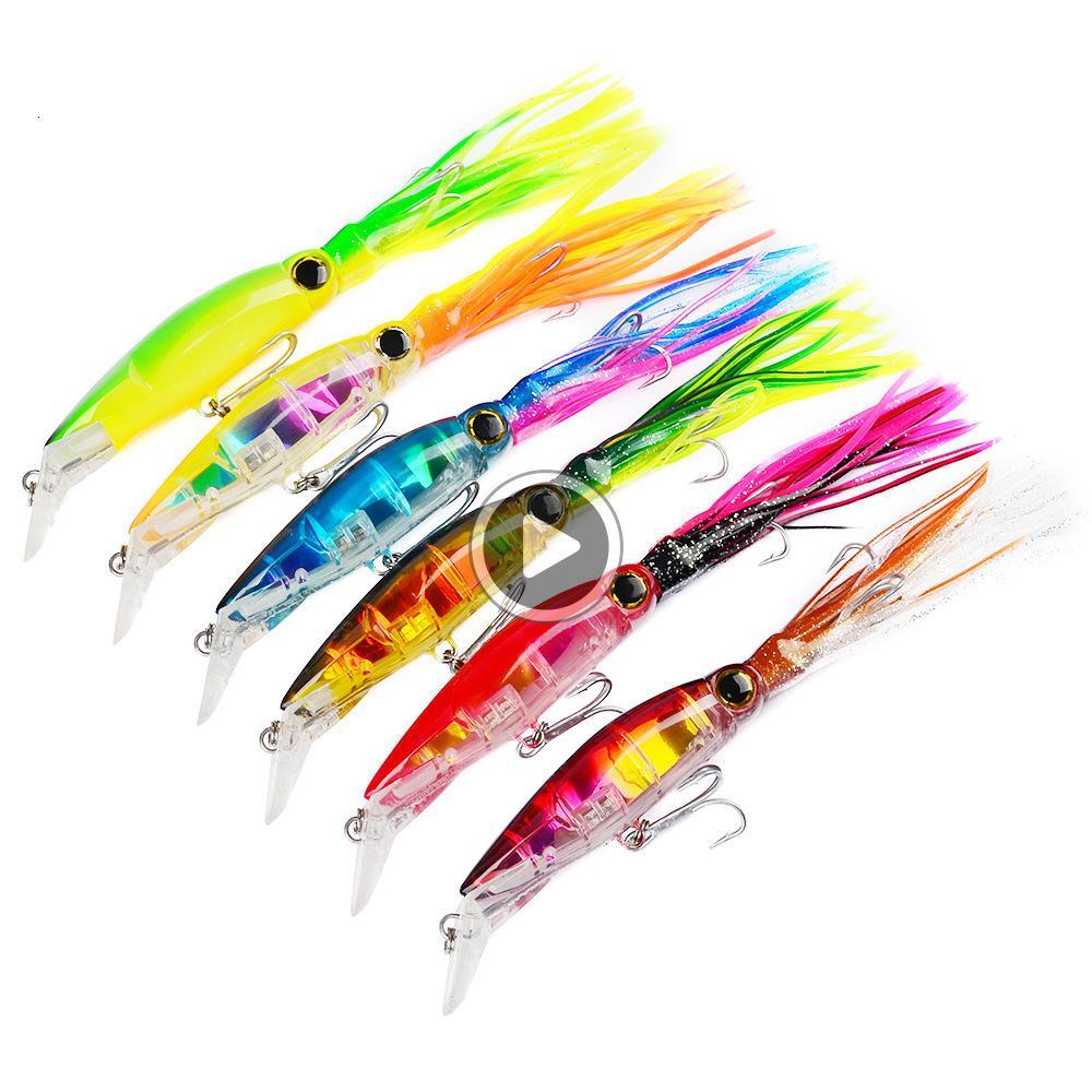 C8IX 6 цветов Искусственного Троллинг Octopus Bionic Squid Приманка 14см 40г Пластиковых рукава-Рыба Рыбалка Жестких Приманки Приманки