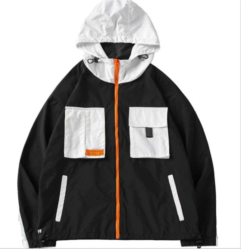 kapüşonlu ceket rüzgar geçirmez Erkek gelgit marka dikiş panda baskı kısa çok cepli hırka