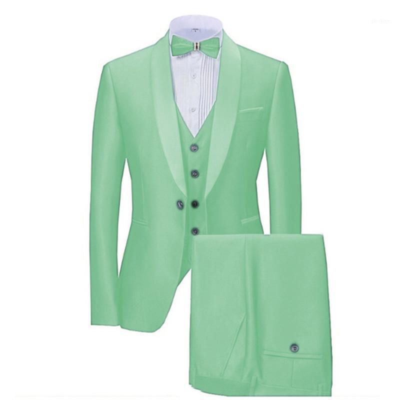 Menta verde trajes 3 piezas de negocios formal Blazer para hombres Sola de shwal para hombre Trajes para hombre para novios Hombre (chaqueta + chaleco + pantalones) 1