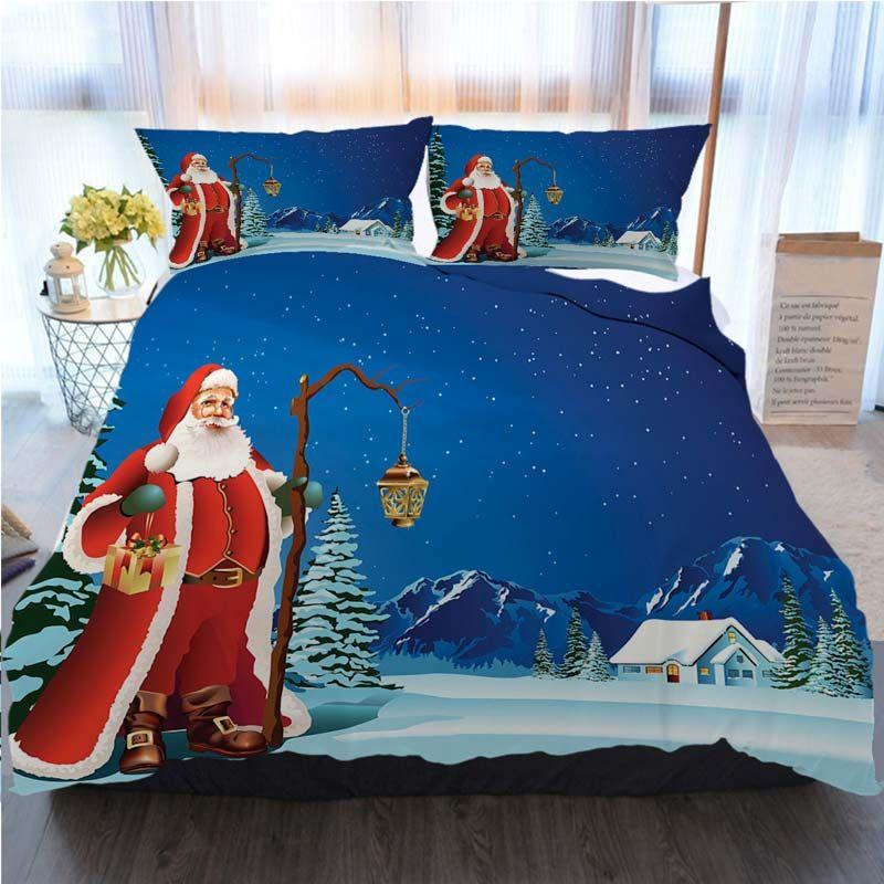 Noel Baba Noel Şükran 3 Adet Nevresim Noel Baba Nevresim Tasarımcı Yatak Yorgan Kümelerin İllüstrasyon ayarlar