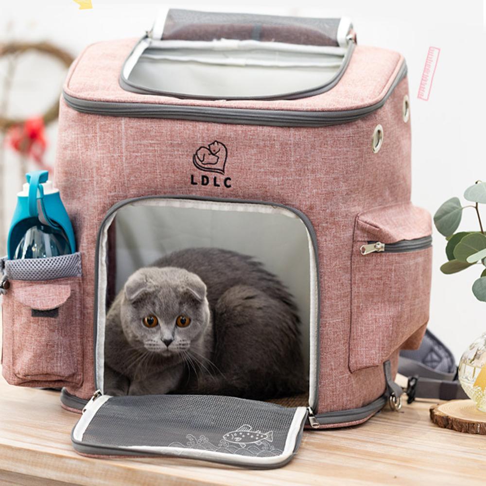 في الهواء الطلق القط شبكة الناقل حقيبة الظهر حقيبة الحيوانات الأليفة للكلاب الأزياء المحمولة الناقل أكياس الراحة الناقل لصغيرة متوسطة الكلب LJ201201