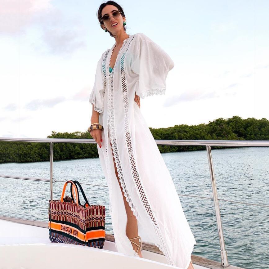 Ashgaily 2020 Strandkleid Tunikus für Strand Langes Bikini-Tune-Up-Tunikus für feste Stickerei Sarong Beach Badeanzug Coverup Y200706