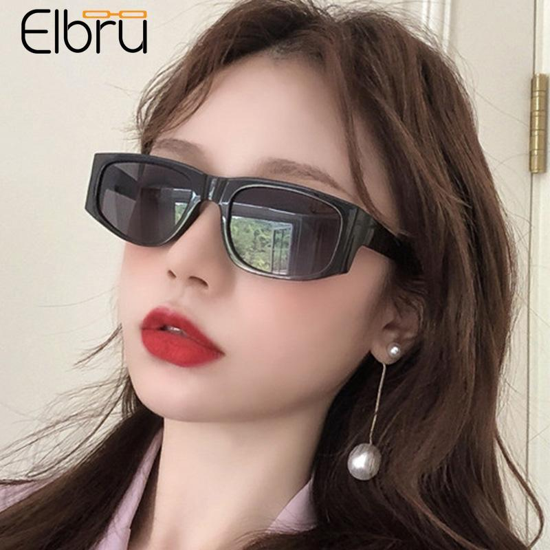 Elbru Hot Style Avocado Sunglasses Personality Small Frame Sun Glasses Street Photography Sungshades Vintage Spectacles Unisex