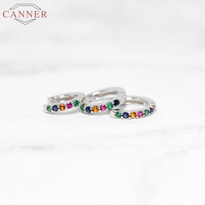 CANNER argento 925 orecchini a cerchio per le donne Ins colorato zircone cerchi dell'orecchino Orecchini di lusso S925 Orecchini gioielli orecchio