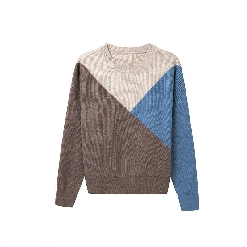 Dt40m femmes chaud 6nv7A manches longues automne pull pull-over T-shirt hiver 2020 nouveaux fonds pull chaud de mode de correspondance des couleurs