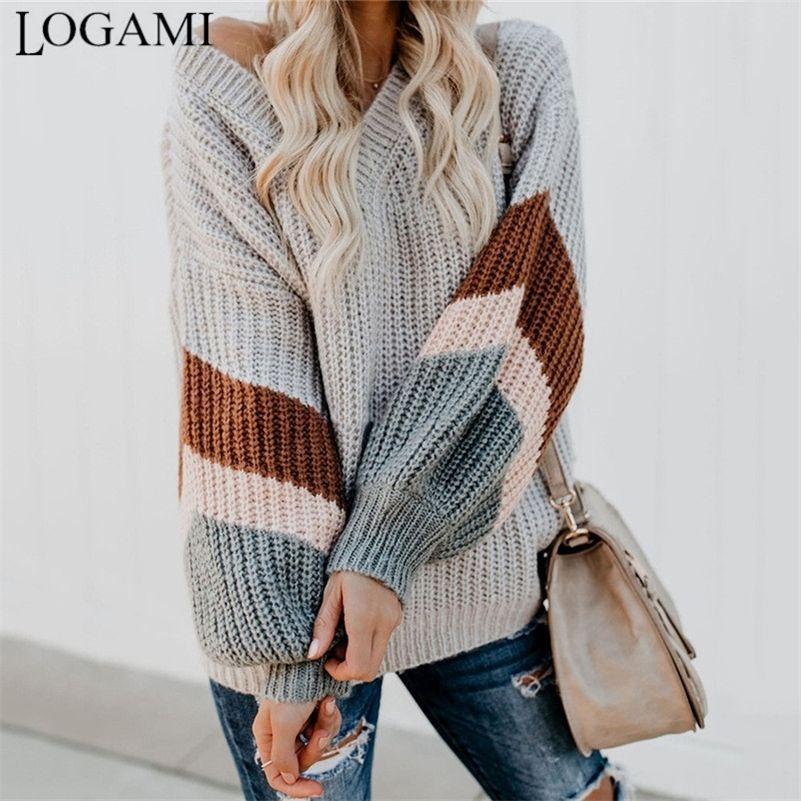 Logami V шеи полосатый рукав вязаный свитер Женщины свободные пуловер падают свитера и пуловеры женские моды новый 20111
