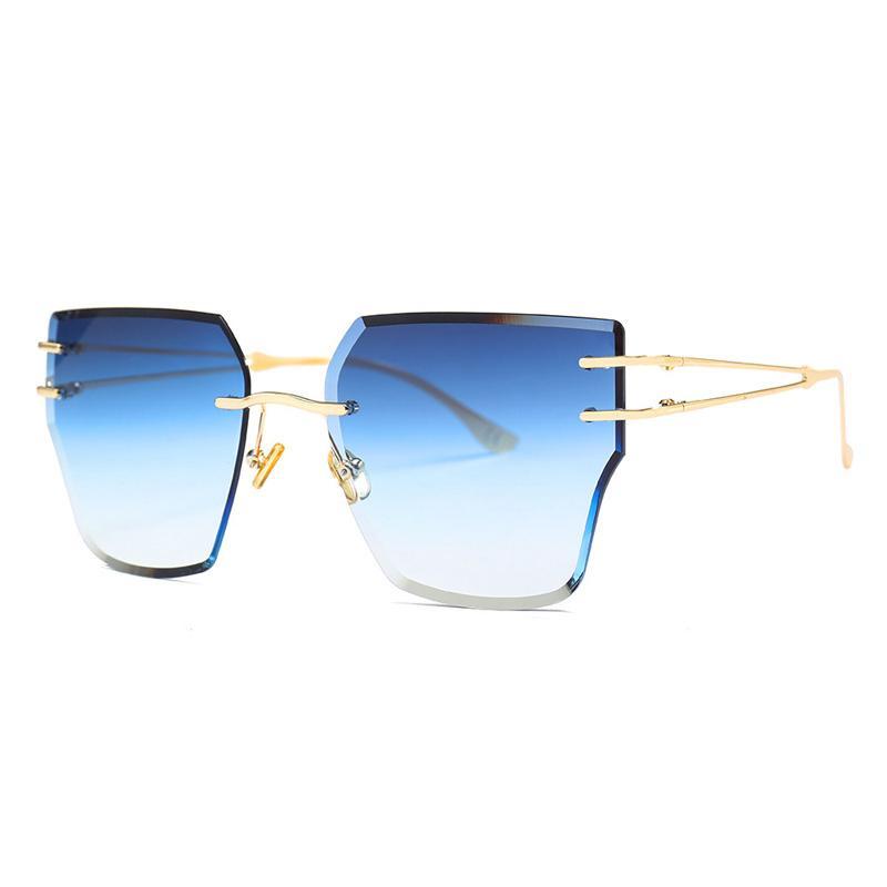 Moda Rimless delle donne degli occhiali da sole in metallo di colore oro Cat Eye Occhiali da sole per le donne Giallo Rosa Gradient Oculos UV400