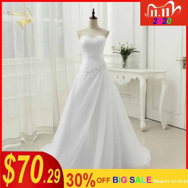 La nueva llegada 2020 vestido de novia de la boda vestidos de novia de una línea Rhinestone rebordear Vestidos de novia más tamaño atan para arriba 5981982 Q1112