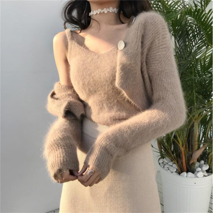 Chic élégant Set de deux pièces Coréen Cardigans Designer Fashion Marque Nouveau V-Col Vest d'automne Vêtements d'hiver Femmes Sweaters Ulzzang