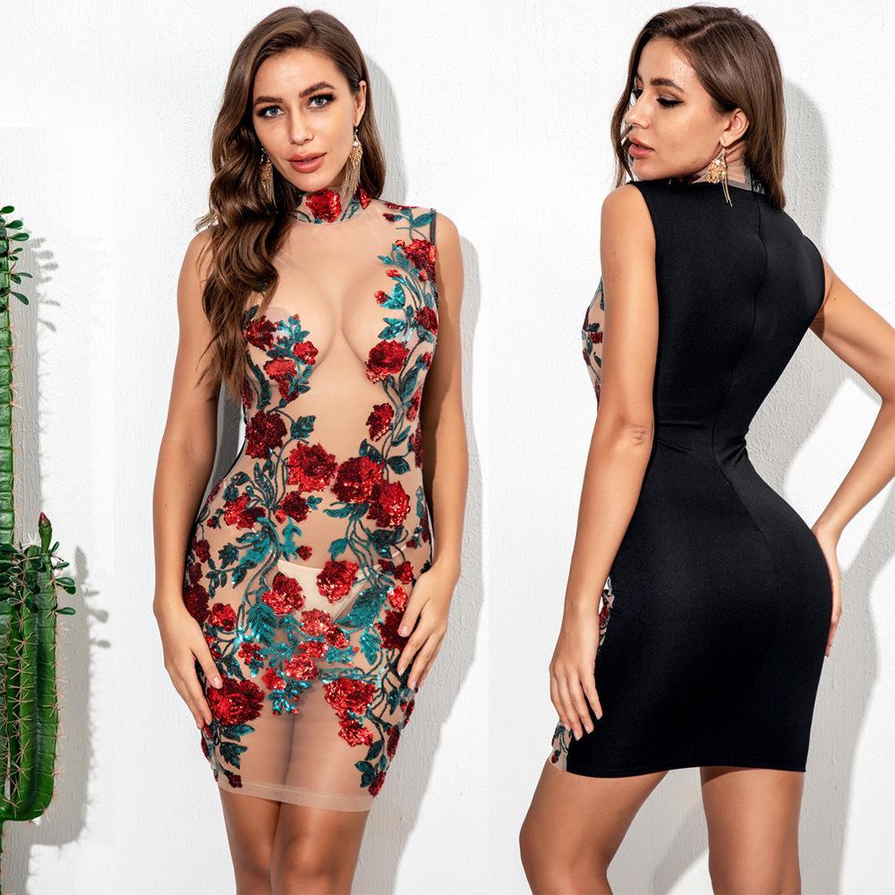 2020 Новая весна Женщины See-Through платье Sexy Mesh Роза вышивка блестками платья женские летние платья Bodycon