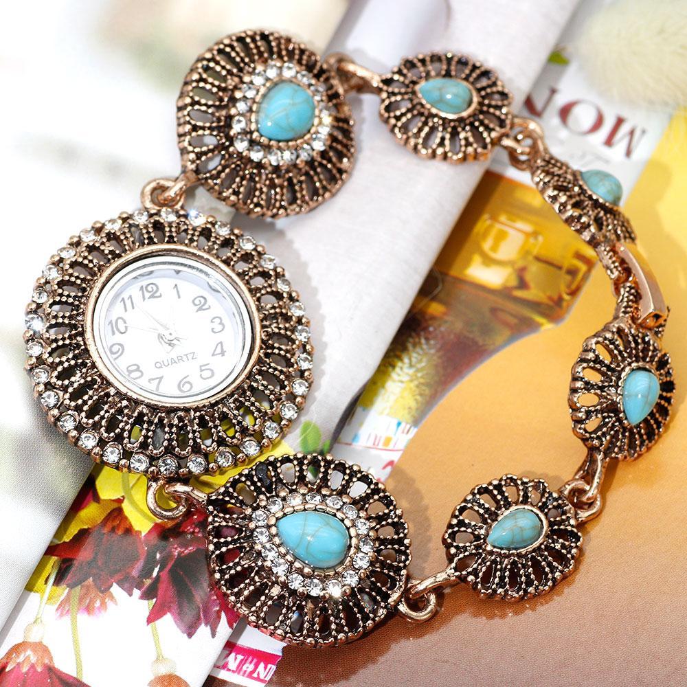 pulseira rodada relógio de pulso Sunspice MS Marrocos vintage para mulheres corrente de metal oco jóias Marrocos casamento do projeto