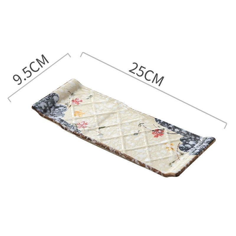 Plum Blossom японской прямоугольная пластина с тиснением сетки Дизайн Керамической суши Пластинчатой Выпечка Блюдо для дома Ресторан 10 7 Синих Красного