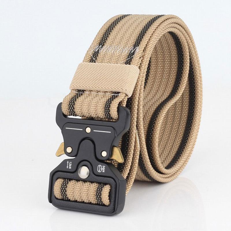 Cinturón táctico de moda de lujo Cinturón de nylon Cinturón de cintura para uso pesado Hebilla de metal ajustable Ejército militar Ajustable Cinturones de cinturones de liberación rápida al aire libre Jeans