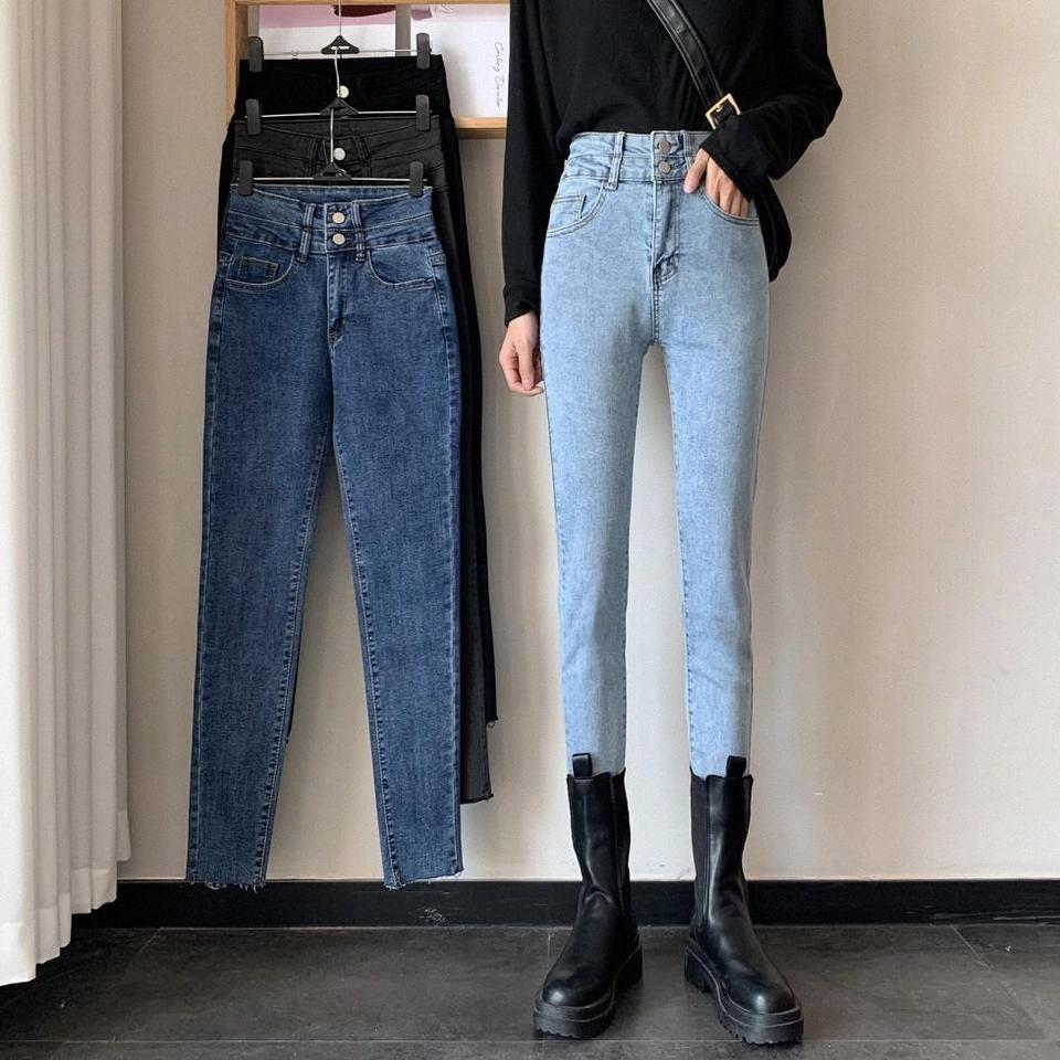 JXMYY FALLO 2020 Fashion All-Match Casual New Syl Stretch Stretch Slip Tight-Fitting Jeans High Living Jeans Donne # SH7I