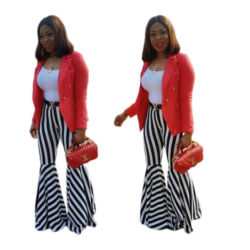 Moda mujeres ocasionales la pierna ancha pantalones de cuerpo entero de la raya de los pantalones Palazzo estiramiento de verano