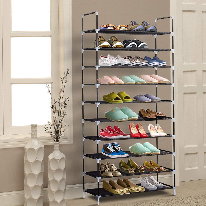 Обувь для обуви WACO Обувь для обуви Организатор, шкафы нетканые ткани металлическая прочная полка башня башни для прихода (черный, 10 уровня)