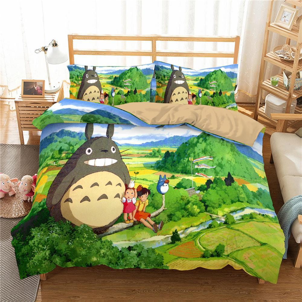 ZEIMON 3D Printed My Neighbor Totoro Duvet Cover Set Luxury Microfiber Bedding Set Twin Queen King Size Quilt Cover Home Textile X1029