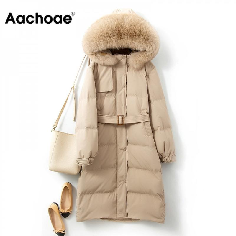 Aachoee Fashion Longue à capuche Parka Femmes Collier Fourrure Coton Veste rembourrée Solide Manches Longues Sashes Chic manteau Heurt 2020