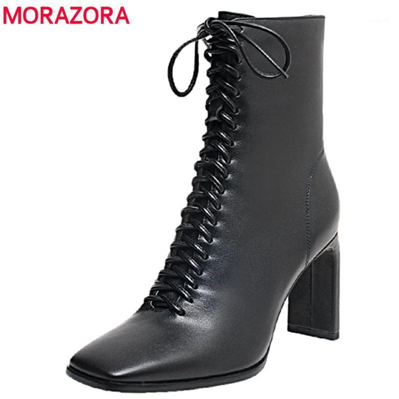 Morazora 2020 Automne Hiver Véritable Cuir Bottes Femmes Lacets à lacets Cowgirls High Talons Dames Bottines Pour Femmes Chaussures Femme1