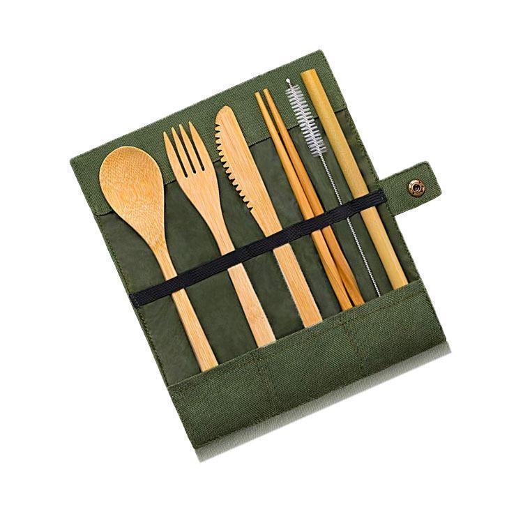 Bambus Reiseutensilien Sustainable Bambusbesteck Set Wiederverwendbares Messer, Gabel, Löffel, biologisch abbaubare Strohhalme Essstäbchen Null Abfall