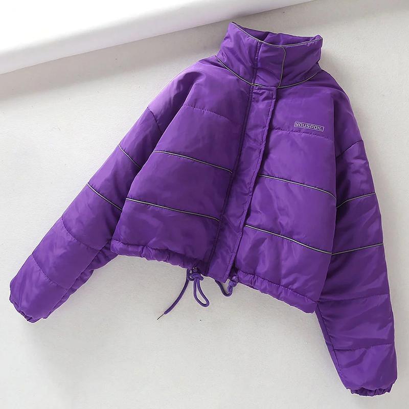 Kış Ceket Kadın Ceket Parka Yansıtıcı Pamuk Yastıklı Sıcak Streetwear Kadınlar Kış Coat 201202