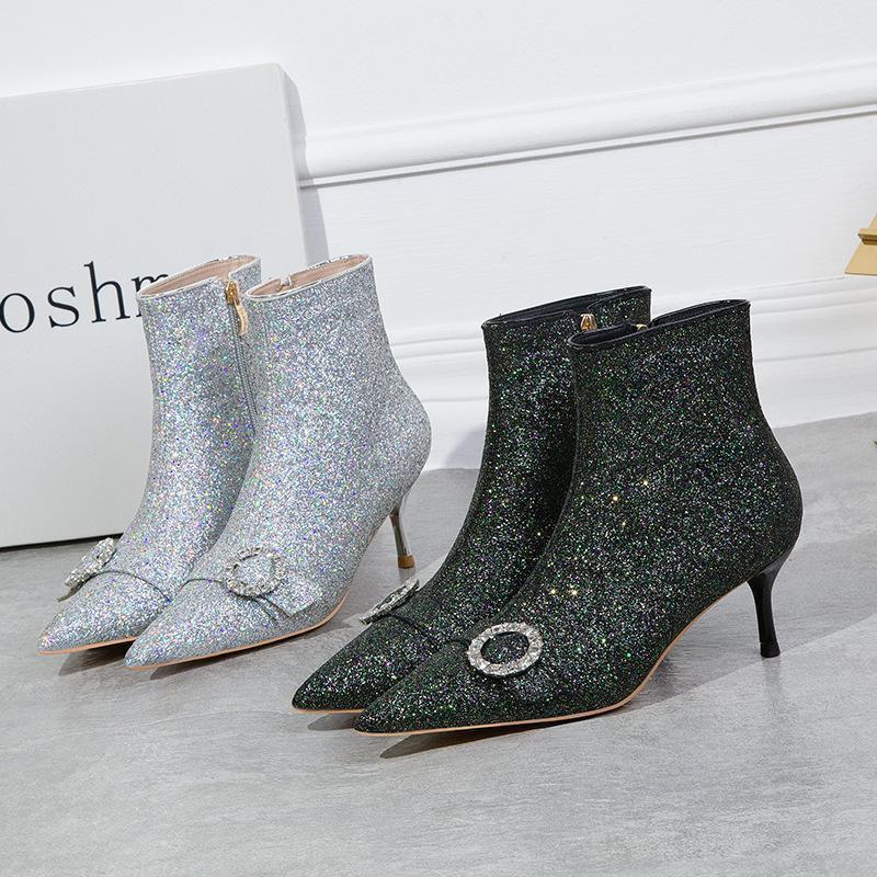 Ботинки моды банкет заостренный носок тонкие каблуки офисные леди партии ботинки Bling Zipper кристалл пряжки блестение