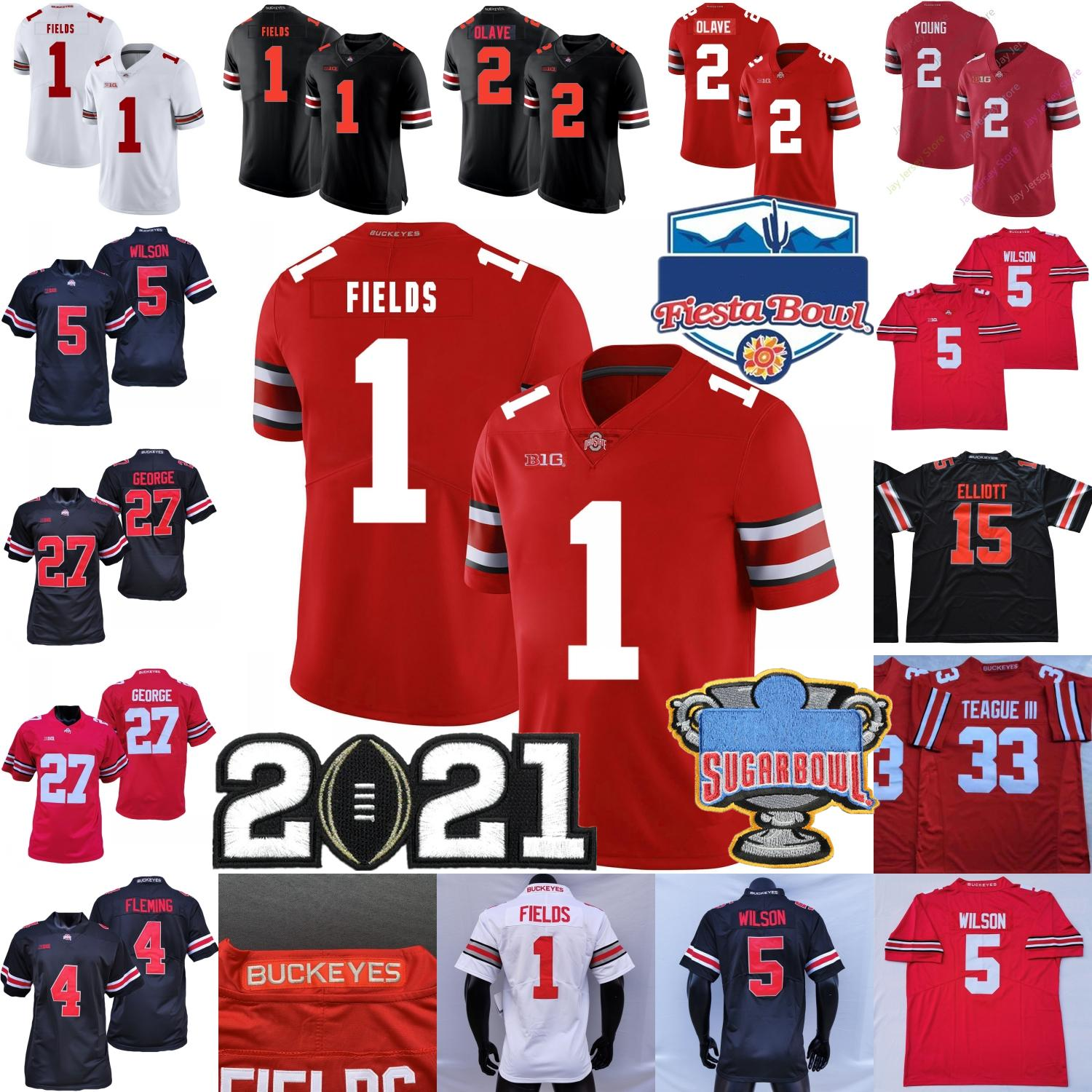 Nouveau 2021 Ohio State Buckeyes Football Jersey NCAA College Justin Champs Chase Young Chris Olave Flemante Garrett Wilson George Teague III